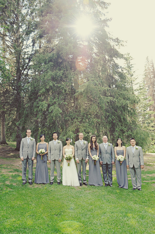 grey and green wedding rustic