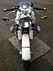 Front view including headlight of complete BMW motorcycle 1961 R69S Dover White with original paint 8.6 Heinrich tank,stock 69 camshaft,latest valvetrain developments from Kevin Brooks at BrooksMotorWorks.