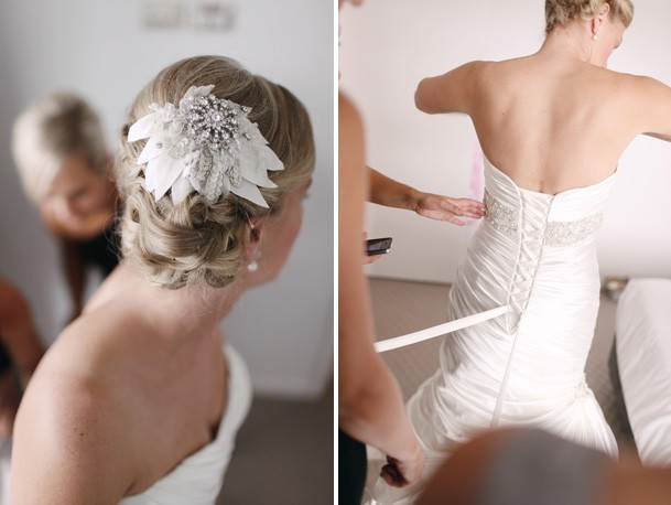 Classic Black and White Inspiration from New Zealand - 5 white petal jeweled hairpiece side bun