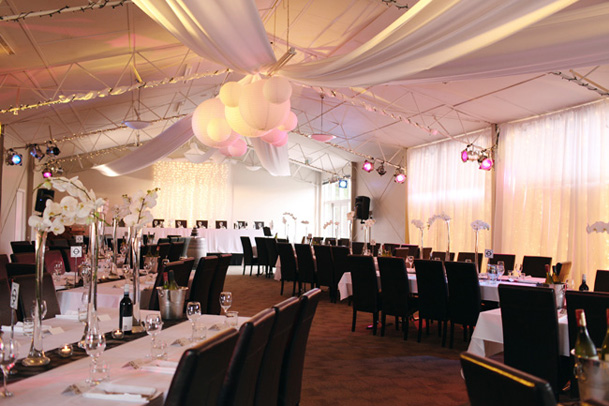 Classic Black and White Inspiration from New Zealand - 31 draping white reception lanterns in center cluster