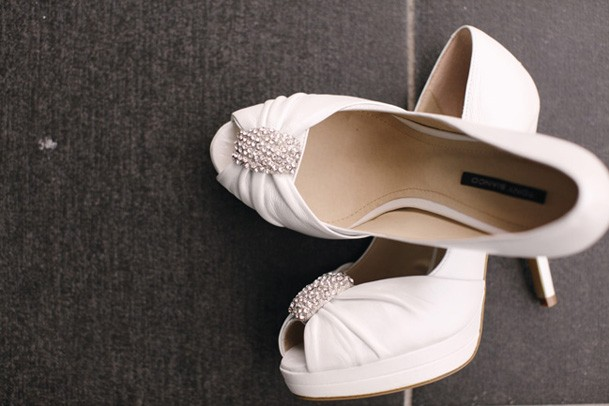 Classic Black and White Inspiration from New Zealand - 2 peep toe white heels bride