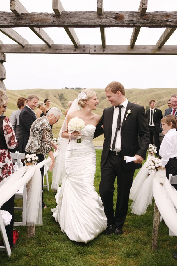 Classic Black and White Inspiration from New Zealand - 17 wooden pergola wedding