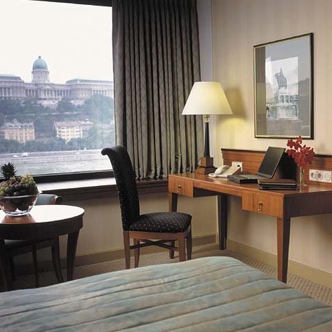 Guest room with view over the Royal Palace at Hotel InterContinental Budapest Hungary