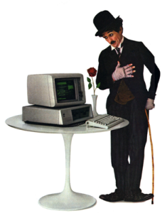 Early IBM Ad with the Little Tramp character standing by IBM PC
