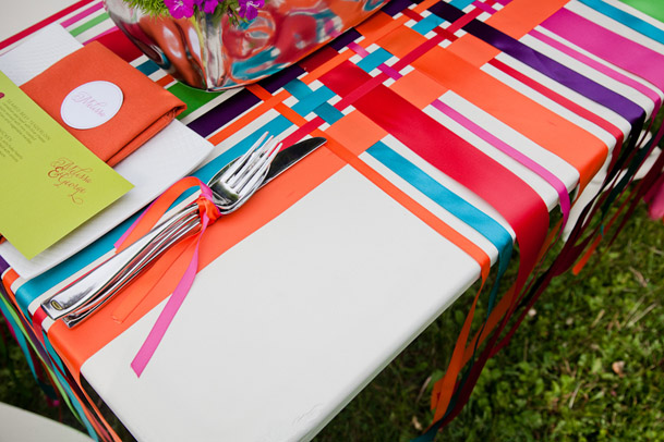 ribbon covered table wedding orange blue red pink