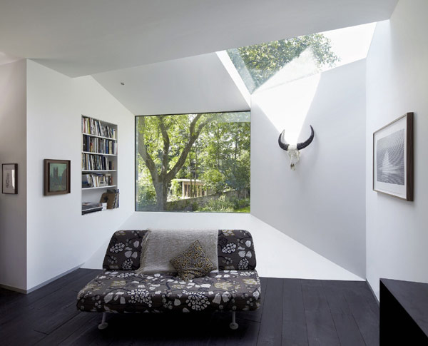 Origami-Like Space Extension Design for Victorian Home in London: Sensational Home Interior Design With Modern Floral Fabric Sofa Furniture ~ dickoatts.com Amazing Home Designs Inspiration
