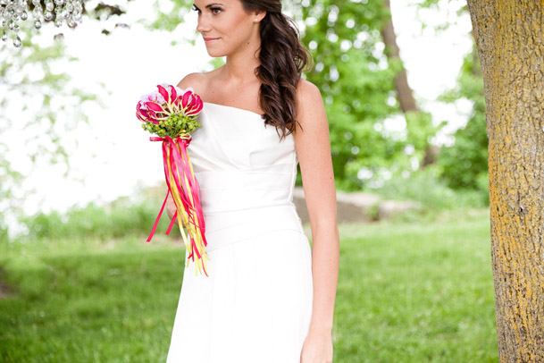 Vibrant Ribbon Inspired Wedding Photoshoot - 18 bride green and pink bouquet