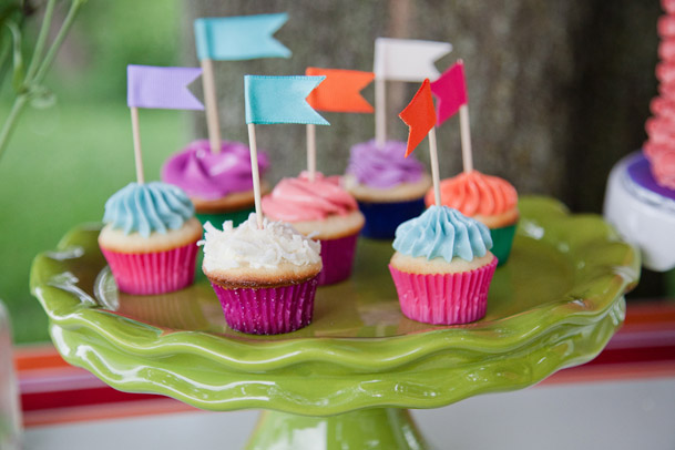 colorful multicolored cupcakes with flags