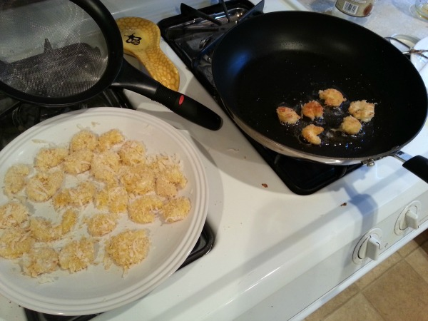 Frying the shrimp
