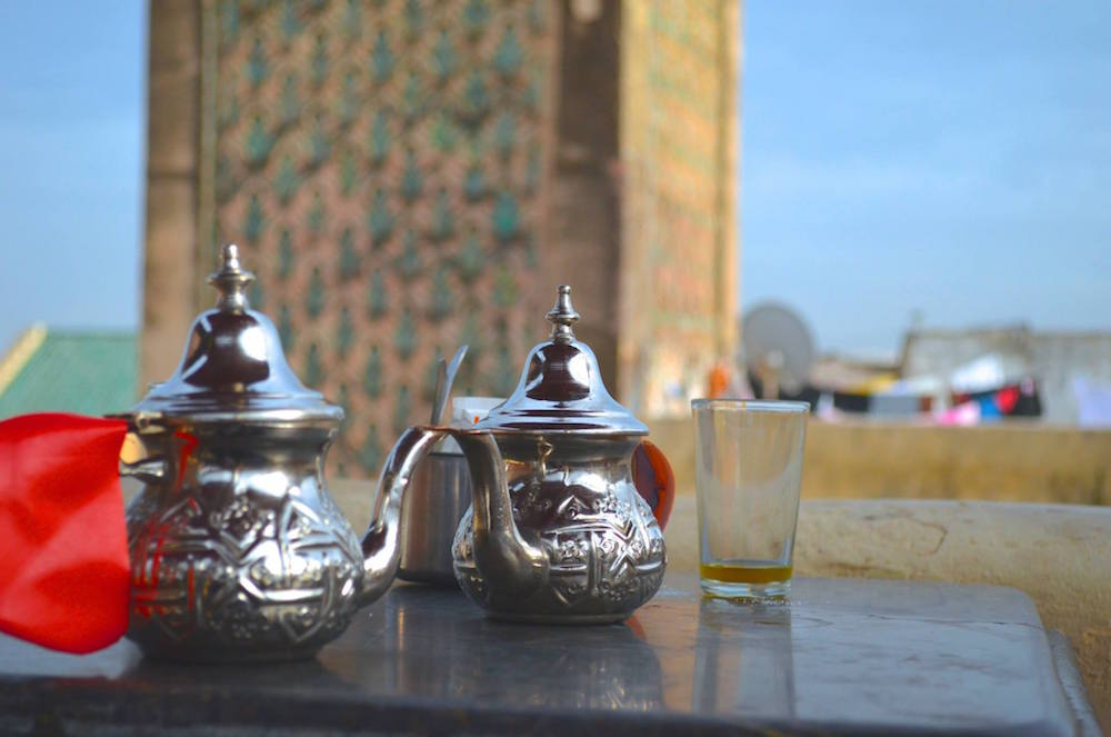 Moroccan tea in Hassan Tower, Rabat