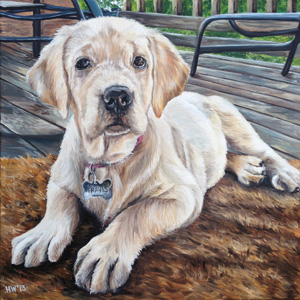 Travis yellow lab oil painting