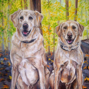 yellow labs oil painting