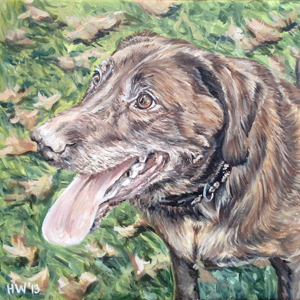 chocolate lab oil painting