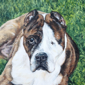 staffordshire terrier pit bull oil painting