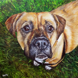 Bailey boxer beagle pit bull oil painting