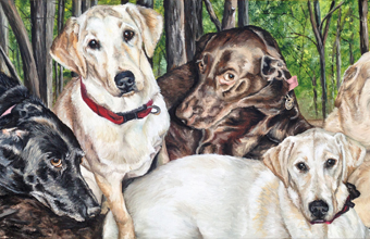 yellow chocolate black labs oil painting