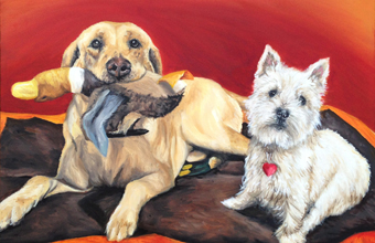 yellow lab westie oil painting