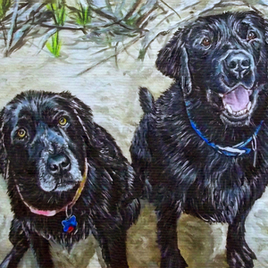black labs oil painting