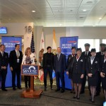 A celebration at the gate featuring dignitaries and International Airlines Group CEO Willie Walsh was held prior to British Airways Flight 278's departure to London.