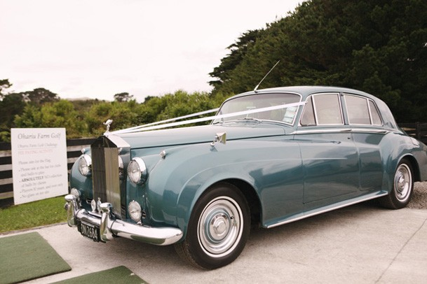 Classic Black and White Inspiration from New Zealand - 13 vintage teal car wedding