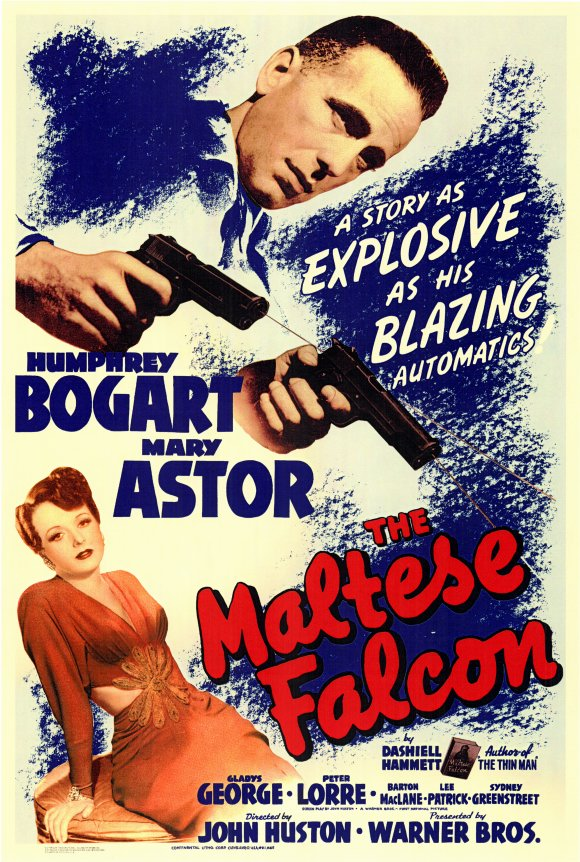 Sam Spade looks a lot like Roy Earle in this poster, which was probably done without seeing any stills from the movie