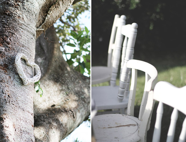 wedding chairs twig heart on tree