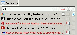 Bookmarks science search with several opened items