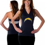 All Sport Couture San Diego Chargers Women's Blown Cover Halter Top - Navy Blue