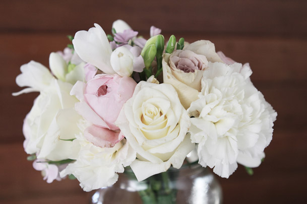 white blush pink bouquet