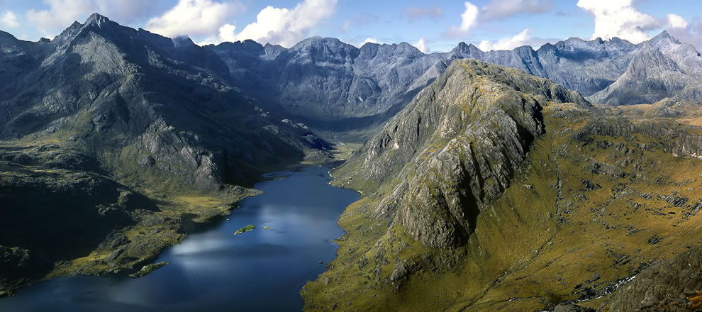 Loch Coruisk and Cuillin Mountain range from top of Sgurr na Stri