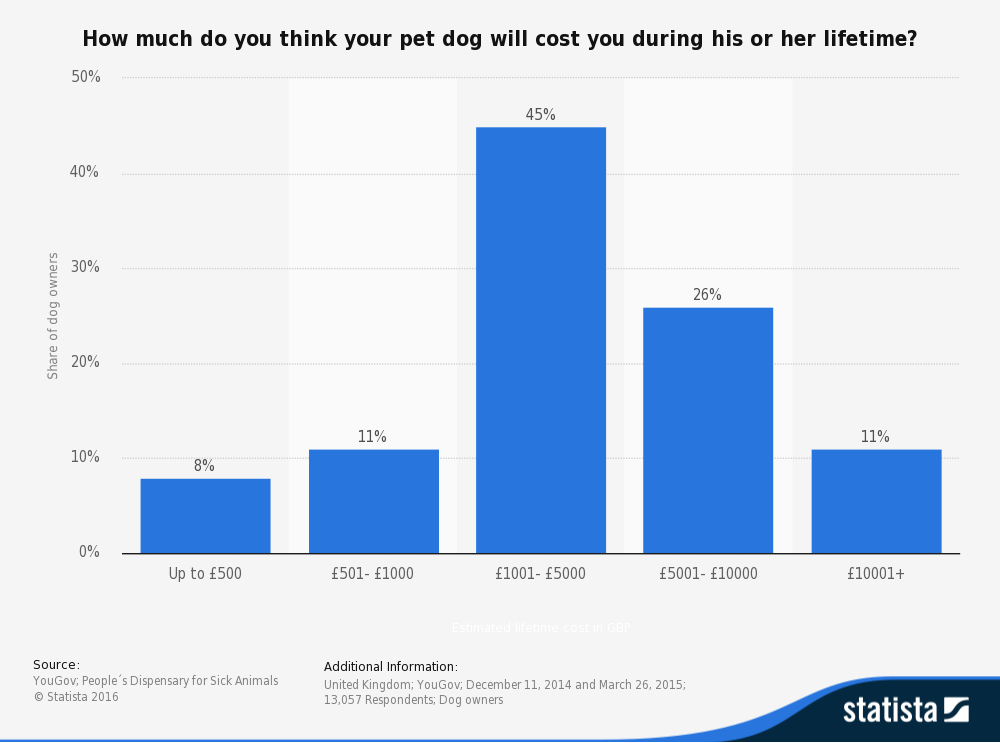 Statistic: Owner-estimated lifetime cost perception of keeping a pet dog in the United Kingdom (UK) in 2013, by cost in GBP | Statista