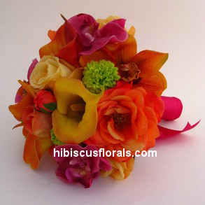 Artificial real feel to the touch flowers pf bright colors in a bridal bouquet