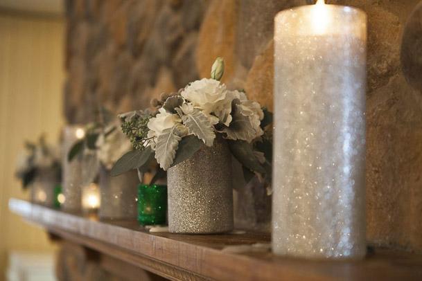 fireplace mantel wedding tall silver glitter candles