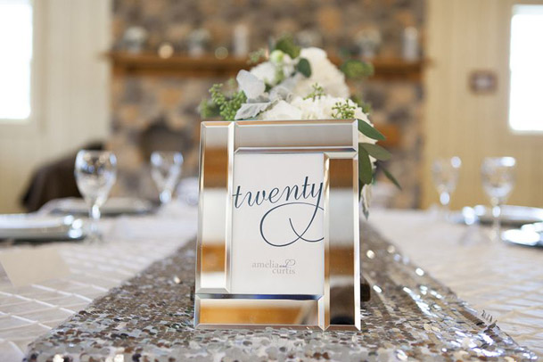 framed table numbers written