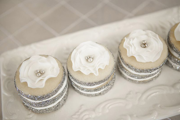 little white cupcakes silver glitter wrappers