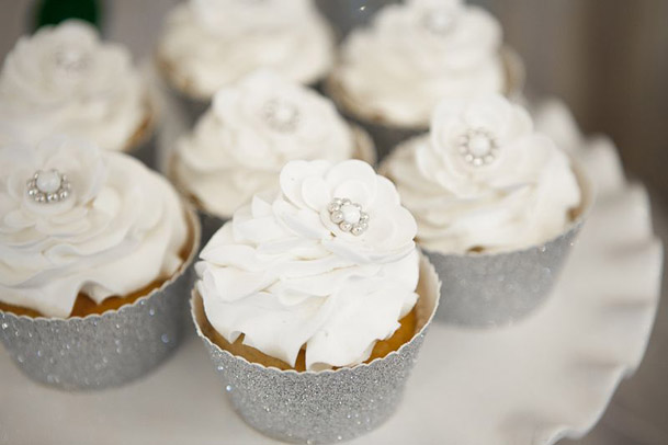 white cupcakes silver glitter wrappers