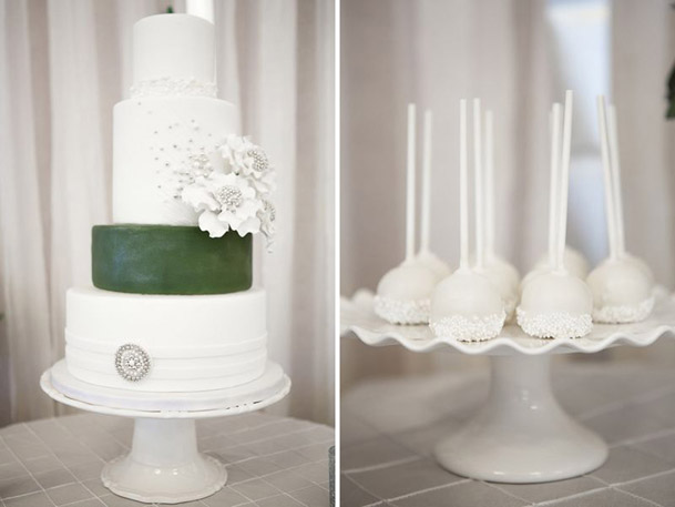 white cake silver details green band
