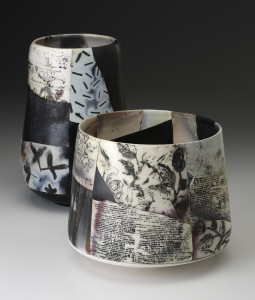 Irina Okula, Saggar Shard Pots, Earthenware, 6.5x7d front, app. 9x4d back