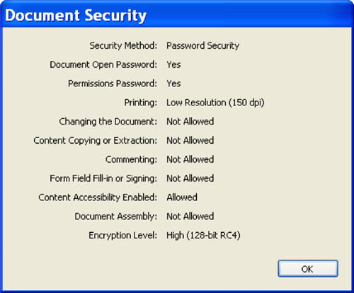 Security Info pop-up box in Acrobat after applying encryption