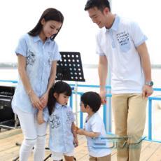 smy2015夏季亲子装韩版清新条纹个性英文印花翻领衬衫家庭装母女装