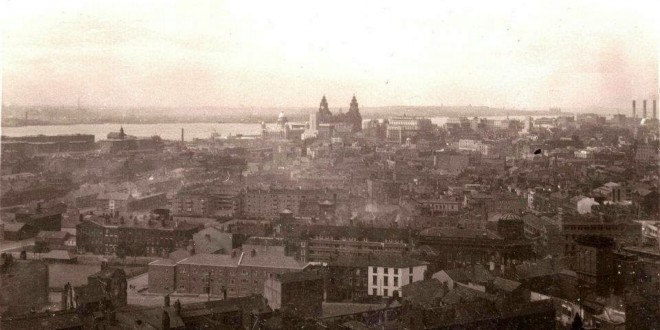 A 1950s aerial view across China Town towards the Pier Head.
