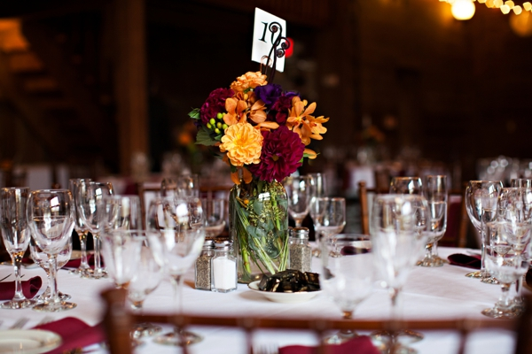 fall floral centerpiece and table number, purple and orange New England fall wedding, Deborah Zoe Photography