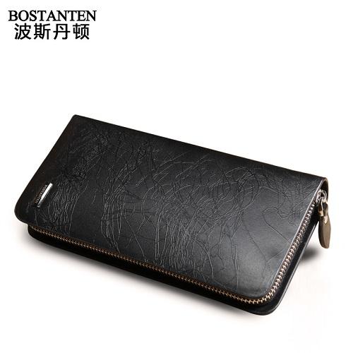 波斯丹顿B20091时尚防水防刮闪电纹牛皮男士长款钱包