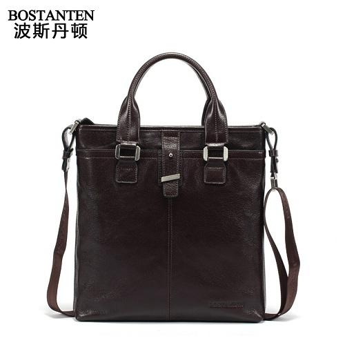 波斯丹顿B10432意大利复古商务简约男士单肩斜挎手提包