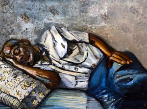 Arrangement in Blue and Black (Daddy Sleeping) by Beverly McIver oil on canvas 36 x 48 at Craven Allen Gallery