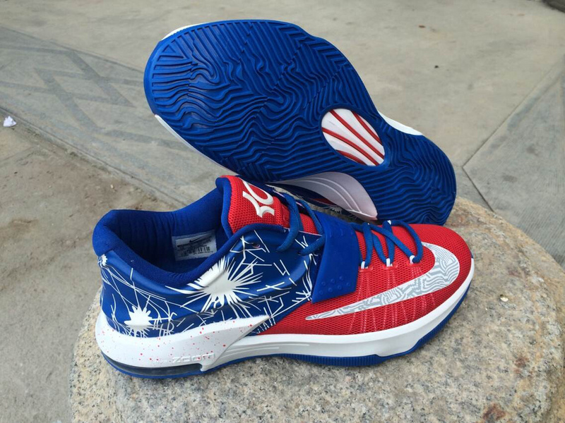 Nike KD 7 Shoes Red - Treasure Blue - White