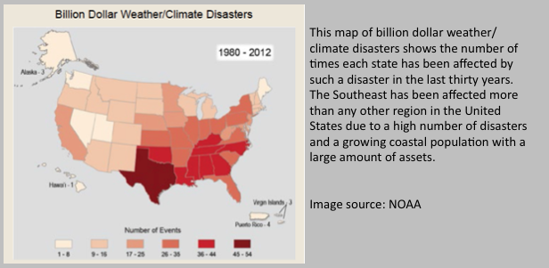 This map of billion dollar weather/climate disasters shows the number of times each state has been affected by such a disaster in the last thirty years. The Southeast has been affected more than any other region in the United States due to a high number of disasters and a growing coastal population with a large amount of assets.