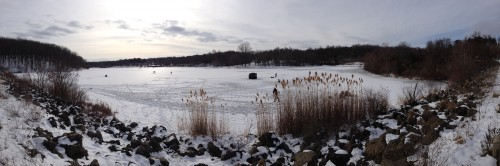 Ice Fishing, Round Valley Reservoir, swimming section safe ice