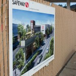 Renderings of the proposed Safeway on College project are posted near the corner of College Avenue and Claremont Avenue. ANDREW LEONARD / CALIFORNIA BEAT