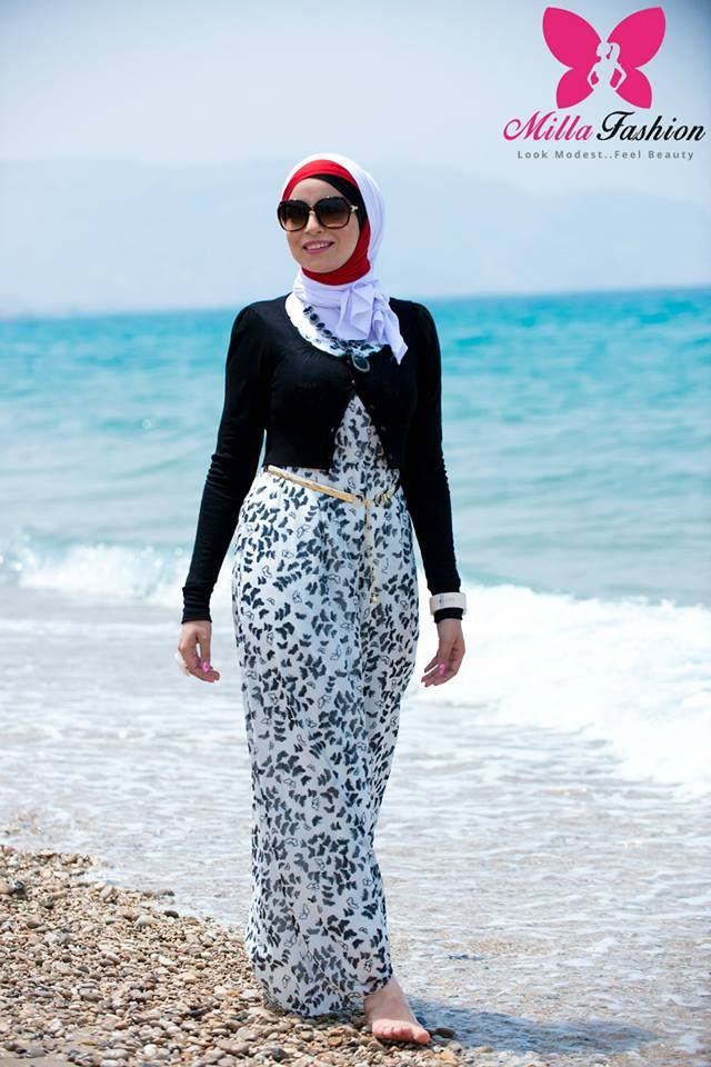 hijab beach look Hijab new collection by Milla fashion see collection http://www.justtrendygirls.com/hijab-new-collection-by-millas-fashion/
